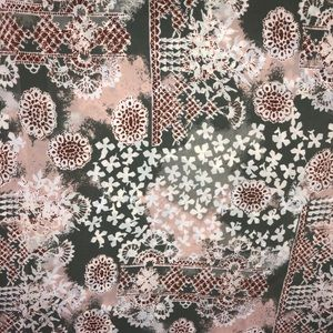 FABRIC 1yds 44w peach and sage print NWOT